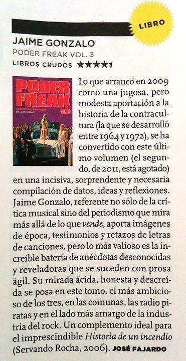 Reseña destacada de 'Poder freak vol. 3' en 'El Mundo'.