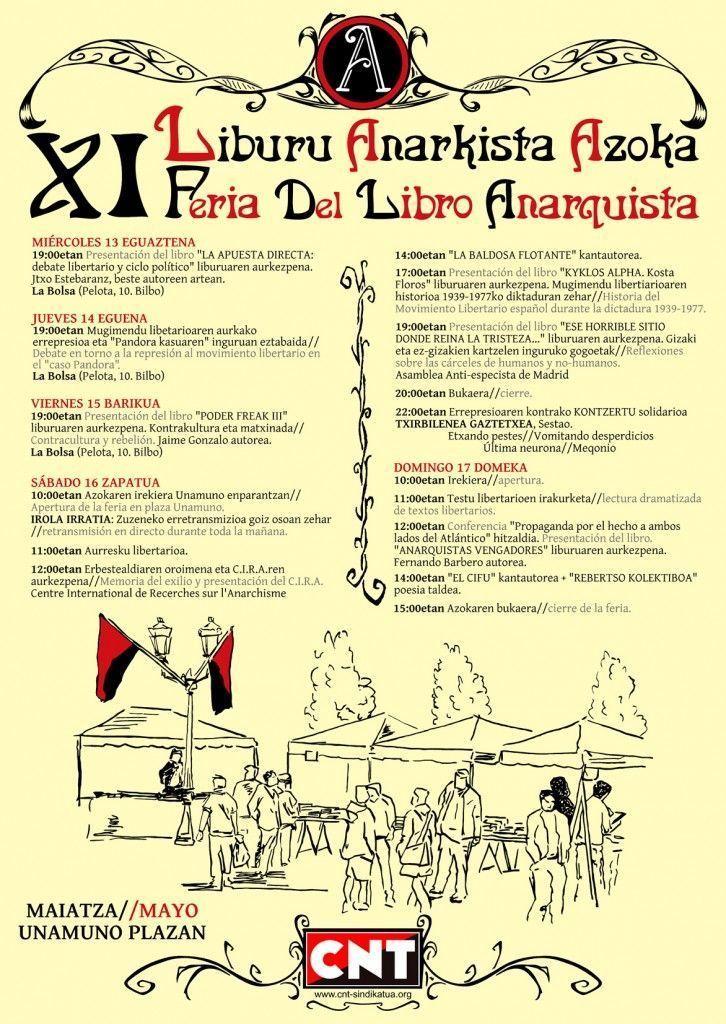 Cartel de la Feria del Libro Anarquista de Bilbao